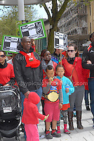 Rally supporters.<br /> <br /> Cardiff, South Wales. Sunday May 11th 2014. Nigerians in Cardiff in organised rally in support of the 276 abducted school children in Chibok, Nigeria by Boko Haram terrorists. <br /> <br /> Photo by Jeff Thomas/Jeff Thomas Photography