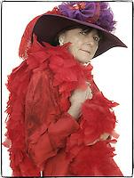 Slug: WK/Red Hatters.Date: 10-04-2004.Location:   Pink Bicycle Tea Room. Occoquan, VA.Photographer:  Mark Finkenstaedt FTWP.Caption:  Doris Harris, Vice Queen of Hells Belles.