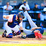 7 March 2010: Washington Nationals' infielder Pete Orr collides with catcher Chris Coste and is out at the plate during a Spring Training game against the New York Mets at Tradition Field in Port St. Lucie, Florida. The Mets edged out the Nationals 6-5 in Grapefruit League pre-season play. Mandatory Credit: Ed Wolfstein Photo