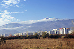 Sofia, Bulgaria. Mount Vitosa with Soviet-style appartment buildings.