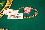 Blackjack hand in Las Vegas, Nevada, Caesars Palace and Casino, gaming, gambling, chips, blackjack, betting, cards, winning, NV, Las Vegas, Photo nv232-17943..Copyright: Lee Foster, www.fostertravel.com, 510-549-2202,lee@fostertravel.com