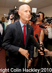 TALLAHASSEE, FLA. 6/17/10-Rick Scott, republican gubernatorial hopeful, talks with the media after he filed the paperwork to make his candidacy official Thursday in Tallahassee...COLIN HACKLEY PHOTO