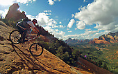 Mountain biking Sedona, AZ on the Hangover trail. This is the roll in to the trail from the Damfino saddle.