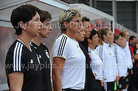 The German bench of subs and coaches during the UEFA Womens U19 Semi-Final at Parc y Scarlets Wednesday 28th August 2013. All images are the copyright of Jeff Thomas Photography-www.jaypics.photoshelter.com-07837 386244-Any use of images must be authorised by the copyright owner.