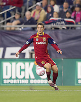 Real Salt Lake midfielder Will Johnson (8) traps the ball. Real Salt Lake defeated the New England Revolution, 2-1, at Gillette Stadium on October 2, 2010.