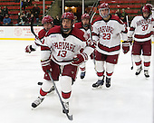 Greg Gozzo (Harvard - 13), Tyler Moy (Harvard - 2), Kevin Guiltinan (Harvard - 6), David Valek (Harvard - 23), Desmond Bergin (Harvard - 37) - The Harvard University Crimson defeated the Princeton University Tigers 3-2 on Friday, January 31, 2014, at the Bright-Landry Hockey Center in Cambridge, Massachusetts.