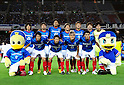 "F Yokohama F Marinos team group line-up,..JULY 23, 2011 - Football :..Yokohama F Marinos players (Top row - L to R) Shunsuke Nakamura, Hiroyuki Taniguchi, Yuji Nakazawa, Masashi Oguro, Yuzo Kurihara, Kazuma Watanabe, Hiroki Iikura, (Bottom row - L to R) Yasuhiro Hato, Shingo Hyodo, Yuzo Kobayashi and Shohei Ogura pose for a team photo with the club mascots ""Marinos-kun""(L) and ""Marinosuke""(R) before the 2011 J.League Division 1 match between Yokohama F Marinos 1-0 Vissel Kobe at Nissan Stadium in Kanagawa, Japan. (Photo by AFLO)"