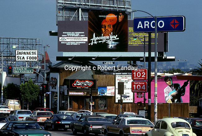 Apocalpyse Now movie billboard on the Sunset Strip in Los Angeles, California circa 1979