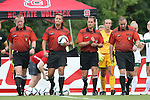 04 September 2015: Match officials. From left: Assistant Referee Scott Bowers, Referee Brandon Marion, Fourth Official Paul Friend, and Assistant Referee Evan Frank. The Wake Forest University Demon Deacons played the William & Mary University Tribe at Dail Soccer Field in Raleigh, NC in a 2015 NCAA Division I Women's Soccer game. The game ended in a 1-1 tie.