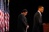 Chicago, IL - December 3, 2008 -- United States President-elect Barack Obama (R) addresses reporters while Secretary of Commerce designee and New Mexico Governor Bill Richardson stands at his side at news conference in Chicago on December 3, 2008..Credit: Brian Kersey - Pool via CNP