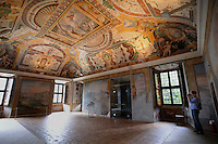 Affreschi nell'appartamento nobile..Frescoes in the Noble apartment..Villa d'Este di Tivoli, patrimonio mondiale dell' UNESCO..Villa d'Este is included in the UNESCO world heritage list..