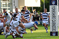 Zach Mercer of Bath Rugby dives for the try-line. Pre-season friendly match, between Yorkshire Carnegie and Bath Rugby on August 13, 2016 at Ilkley RFC in Ilkley, England. Photo by: Ian Smith / Onside Images