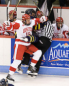 Wade Megan (BU - 18), Brandon Brodhag (Merrimack - 12), Bob Bernard - The visiting Merrimack College Warriors tied the Boston University Terriers 1-1 on Friday, November 12, 2010, at Agganis Arena in Boston, Massachusetts.