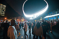 Crowds arrive on opening night for the Barclays Center in Brooklyn in New York on Friday, September 28, 2012. The new venue opened with eight concerts by the rapper Jay-Z, a part owner in the arena, and is expected to be the major economic engine for a change in the neighborhood.   (© Richard B. Levine)