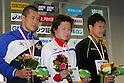 (L to R) .Makoto Ito, .Kenta Ito, .Yuta Kawaguchi, .FEBRUARY 11, 2012 - Swimming : .The 53rd Japan Swimming Championships (25m) .Men's 50m Freestyle Victory Ceremony .at Tatsumi International Swimming Pool, Tokyo, Japan. .(Photo by YUTAKA/AFLO SPORT) [1040]