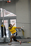 11 MAR 2011: Yaneve Fonge of the University of Rochester throws during the the Division III Men's and Women's Indoor Track and Field Championships held at the Capital Center Fieldhouse on the Capital University campus in Columbus, OH.  Fonge finished second in the event with a throw of 19.24 meters (63'1.5&quot;). Jay LaPrete/NCAA Photos