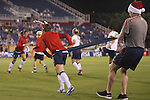 15 December 2012: Amy LePeilbet (USA) (left) wears candycane reindeer antlers while doing some pregame resistance training. The United States Women's National Team played the China Women's National Team at FAU Stadium in Boca Raton, Florida in a women's international friendly soccer match. The U.S. won the game 4-1.
