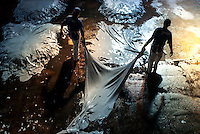 Tannery in Brazil, wet blue process of treating skins of animals to produce leather. Caceres city, Mato Grosso State, Amazon.