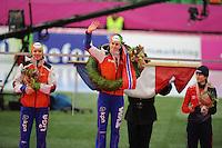SCHAATSEN: HAMAR: Vikingskipet, 11-01-2014, Essent ISU European Championship Allround, Podium Ladies, Yvonne Nauta (NED), Ireen Wüst, Martina Sábliková (CZE), ©foto Martin de Jong