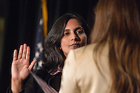 Councilmember Kshama Sawant and other city officials were sworn into office today, January 6, 2014, before a standing-room-only crowd at Seattle City Hall. Sawant's oath of office was administered by Nicole Grant, vice president of the Washington State Labor Council. Sawant is the first Socialist elected to Seattle's City Council.