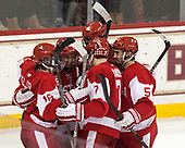 Clayton Keller (BU - 19), Jakob Forsbacka Karlsson (BU - 23), Jordan Greenway (BU - 18), Charlie McAvoy (BU - 7), Chad Krys (BU - 5) - The visiting Boston University Terriers defeated the Boston College Eagles 3-0 on Monday, January 16, 2017, at Kelley Rink in Conte Forum in Chestnut Hill, Massachusetts.