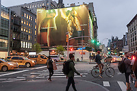 A billboard advertising Calvin Klein brand underwear featuring model Kendall Jenner in the Soho neighborhood of New York on Tuesday, April 26, 2016. Klein's advertisements use sex and provocative images to test society's cultural and moral boundaries. (© Richard B. Levine)