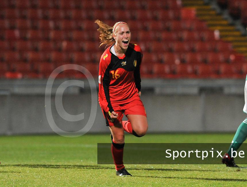 Northern Ireland : UEFA Women's Euro Qualifying group stage (Group 3) - 19/09/2012 - BELFAST  - Windsor Linfield FCl Stadion : Northern Ireland ( Noord Ierland ) - BELGIUM ( Belgie ) : Janice Cayman scoort de 0-1 voor Belgie.foto DAVID CATRY / Vrouwenteam.be.