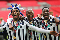 Millwall's Mahlon Romeo, Nadjim Abdou and Fred Onyedinma celebrate winning the Division One Play-Off Final during Bradford City vs Millwall, Sky Bet EFL League 1 Play-Off Final at Wembley Stadium on 20th May 2017