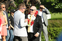 HOT SPRINGS, AR - APRIL 15: Inside Straight owner Randy Howg celebrating in the winners circle after winning the Oaklawn Handicap at Oaklawn Park on April 15, 2017 in Hot Springs, Arkansas. (Photo by Justin Manning/Eclipse Sportswire/Getty Images)