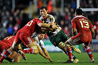 Dom Barrow of Leicester Tigers takes on the Munster defence. European Rugby Champions Cup match, between Leicester Tigers and Munster Rugby on December 20, 2015 at Welford Road in Leicester, England. Photo by: Patrick Khachfe / JMP