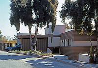 Lloyd Wright: Taggart House, 1922-24. 5423 Live Oak Drive, Los Feliz  L.A.  Wood and Stucco.  Photo '91.