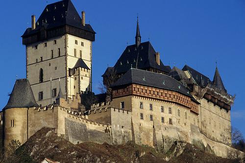 Czech Republic. Karlstejn Castle built 14th Century; gothic castle on a rocky outcrop.