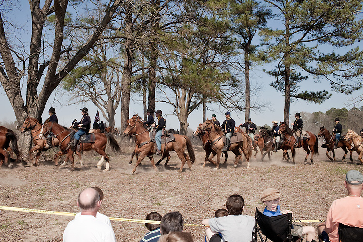 March 18, 2010. Four Oaks, North Carolina.. Reenactors and the public attend the 145th anniversary of the Battle of Bentonville, which was fought on March 19-21, 1865 and was the last large scale Conferderate resistance to the advancing army of Union soldiers. It was also the largest battle fought in North Carolina..