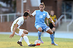 28 August 2015: North Carolina's Alan Winn (18) and FIU's Paul Marie (FRA) (left). The University of North Carolina Tar Heels hosted the Florida International University Panthers at Fetzer Field in Chapel Hill, NC in a 2015 NCAA Division I Men's Soccer match. North Carolina won the game 1-0