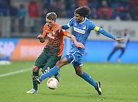 FUSSBALL   1. BUNDESLIGA  SAISON 2012/2013   15. Spieltag TSG 1899 Hoffenheim - SV Werder Bremen    02.12.2012 Nils Petersen (li, SV Werder Bremen)  gegen Marvin Compper (TSG 1899 Hoffenheim)