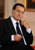 President Hosni Mubarak of Egypt listens as United States President Barack Obama and Middle Eastern leaders make statements in the East Room of the White House following their bi-lateral meetings  in Washington, D.C. on Wednesday, September 1, 2010.  The statements are in advance of the opening of the first direct talks in two years between Israel and the Palestinian Authority scheduled to begin at the State Department in Washington, D.C. tomorrow. .Credit: Ron Sachs / Pool via CNP.(RESTRICTION: NO New York or New Jersey Newspapers or newspapers within a 75 mile radius of New York City)