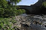 Bridge over fast moving stream, Aysgarth falls North Yorkshire,England
