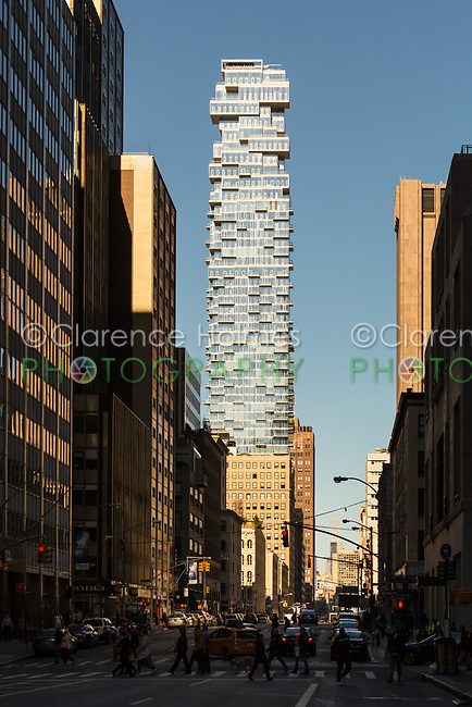 "A view of ""56 Leonard"", a luxury residential tower in the TriBeCa area of New York City."