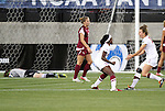 02 December 2011: Stanford's Chioma Ubogagu (9) celebrates her goal with teammate Kristy Zurmuhlen (right) as FSU goalkeeper Kelsey Wys (left) lies on the turf. The Stanford University Cardinal defeated the Florida State University Seminoles 3-0 at KSU Soccer Stadium in Kennesaw, Georgia in an NCAA Division I Women's Soccer College Cup semifinal game.