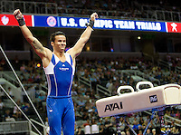 Paul Ruggeri of University of Illinois celebrates after completing Pommel horse during the 2012 US Olympic Trials competition at HP Pavilion in San Jose, California on June 28th, 2012.