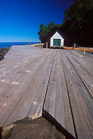 An old dock and boathouse on Devils Island in the Apostle Islands National Lakeshore near Bayfield, Wis.