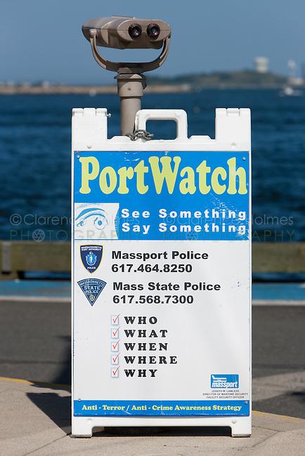 PortWatch sign at the Port of Boston, Boston, Massachusetts