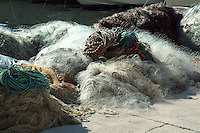 Fishing nets along the harbor in Marseille, France.