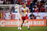 Markus Holgersson (5) of the New York Red Bulls. The New York Red Bulls defeated FC Dallas 1-0 during a Major League Soccer (MLS) match at Red Bull Arena in Harrison, NJ, on September 22, 2013.