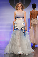 Model walks runway in an outfit by Cassidy Balkus, during the Future of Fashion 2017 runway show at the Fashion Institute of Technology on May 8, 2017.