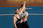 12 MAR 2011: Trevor Franklin of Upper Iowa (in black) after defeating Alex Meger of Augustana  during the Division II Men's Wrestling Championship held at the UNK Health and Sports Center on the University of Nebraska - Kearney campus in Kearney, NE. Franklin defeated Meger 3-0 to win the 125-lb national title. Corbey R. Dorsey/ NCAA Photos
