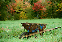 Very old wheelbarrow, formerly blue, sits in field of grass in early fall