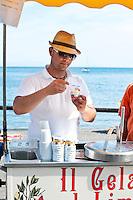Fresh lemon sorbet with Amalfi IGP lemons being sold fresh by the beachside in Amalfi, Amalfi Coast, Italy