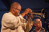 South African trumpeter, flugelhornist, composer and singer Hugh Masekela performing on the Jazz Tent stage at the New Orleans Jazz and Heritage Festival at the New Orleans Fair Grounds Race Course in New Orleans, Louisiana, USA, 26 April 2009.