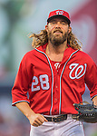 28 May 2016: Washington Nationals outfielder Jayson Werth trots back to the dugout during a game against the St. Louis Cardinals at Nationals Park in Washington, DC. The Cardinals defeated the Nationals 9-4 to take a 2-games to 1 lead in their 4-game series. Mandatory Credit: Ed Wolfstein Photo *** RAW (NEF) Image File Available ***